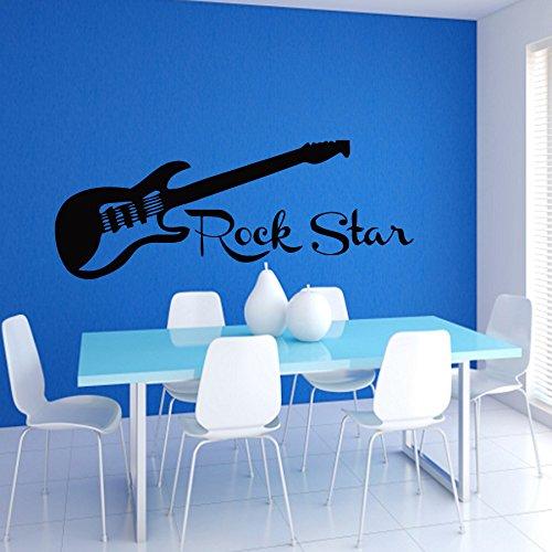 Rock Star Rub (Wall Decals Vinyl Sticker Decal Mural Art Design Guitar and Rock Star Wall Inscription Music Studio Chu1266)