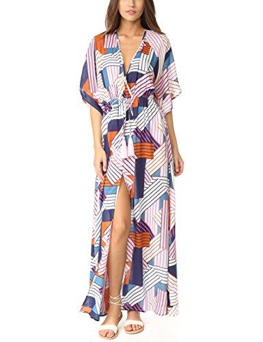 (Bsubseach Short Sleeve Geometric Kaftan Dresses for Women Loose V Neck Side Split Beach Robe Swimwear Cover Ups )