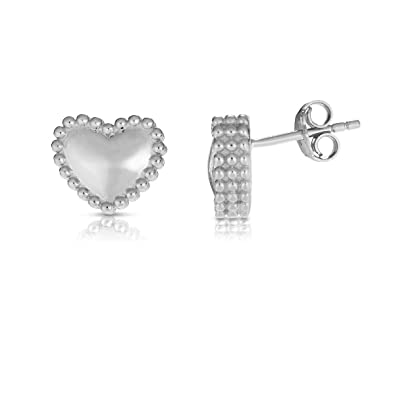d68f61121cf3e Amazon.com: Sterling Silver Rhodium Plated Beaded Heart Stud ...