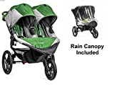 Baby Jogger 2016 Summit X3 Double – Green/Gray with Double Rain Canopy