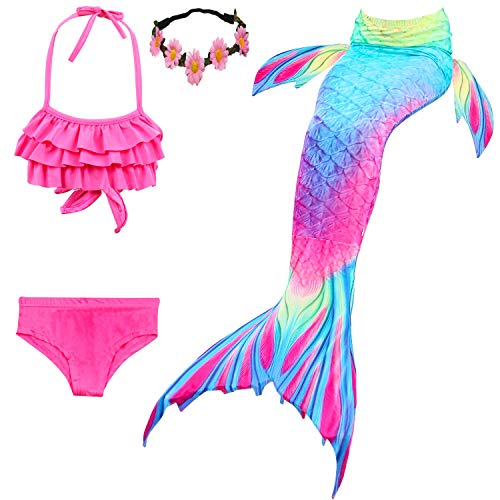 Kokowaii Fancy Girls Mermaid Swimming Tail Kids
