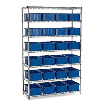"""Chrome Wire Shelving With Quantum Dividable Grid Containers - 48X18x74"""" - (36) 16-1/2 X10-7/8 X6"""" Containers"""