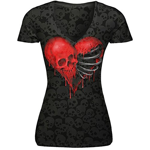 Women's Lethal Angel Ribcage Heart Skull Burnout T-Shirt Black M