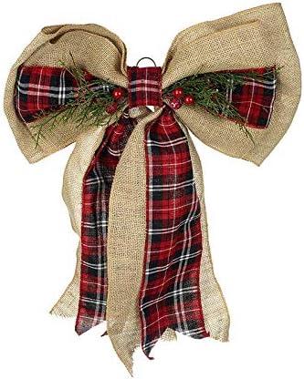 Heaven Sends Large Burlap and Tartan Bow Door Fireplace Christmas Decoration