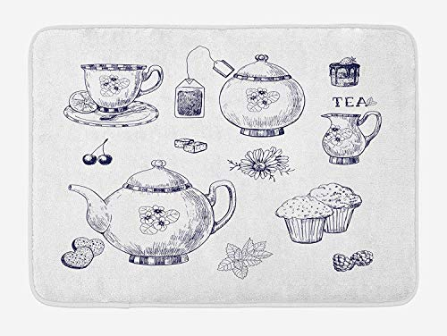 Cup Adrian (Emiqlandg Blue and White Bath Mat, Hand Drawn Teapots and Cups Muffins and Bags Vintage English Tradition, Plush Bathroom Decor Mat with Non Slip Backing, 23.6 W X 15.7 W Inches, Navy Blue White)