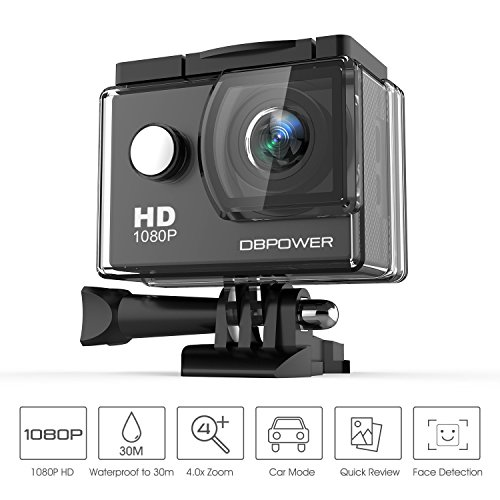 DBPOWER Waterproof Action Camera 12MP 1080P HD with 2 Batter
