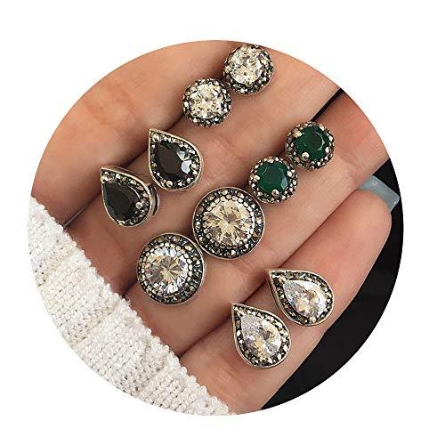 CAIYCAI Boho Shell Turtle Small Stud Earrings Set For Women Punk Geometric Stone Animal Ear Aros Jewelry,Seko 0747