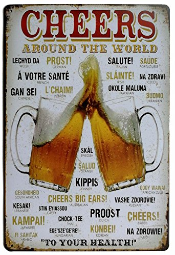 ERLOOD Cheers Around The World Drinking Distressed Metal Retro Wall Decor Vintage Tin Sign 8 x 12 (Decorative Beer Signs)