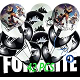 """42 Pcs Fortnight Balloons, 12"""" Latex Balloon Games Birthday Party Decorations - 40 Pcs Assorted Latex Balloons and 2 Pcs Foil Balloons with a Blue 32.8 Feet Ribbon"""