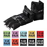 Ankle Weight Pair 8 LBS by Day 1 Fitness, Set of 2 with Adjustable Velcro Straps - Breathable, Moisture Absorbent Weight Straps for Men and Women - Comfortable Ankle, Wrist Weights