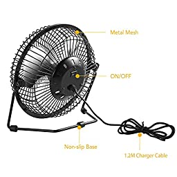 EasyAcc 6 Inch USB Fan Mini Desktop Fan Metal Blades Cooling Fan with 360 Degree Rotation and Adjustable Angle for Laptop Notebook Tablet PC - Black