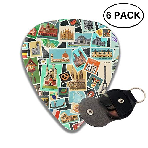 Postage Stamps Pattern Celluloid Guitar Picks 3