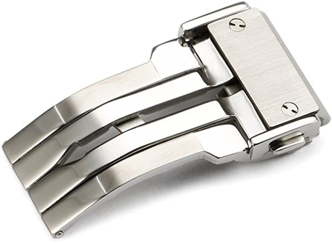 Silver Stainless Steel Deployment Clasp Buckle With Push Button For Hublot