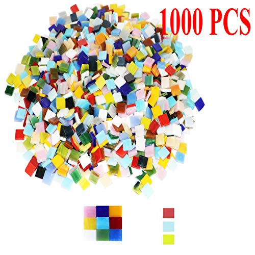 1000 Pieces Mixed Color Mosaic Tiles Mosaic Glass Pieces for Home Decoration or DIY Crafts, Square (Square,1 by 1 cm)