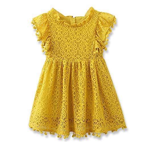 (NNJXD Girls Sleeveless Lace Vintage Ruffle Sleeve Princess Birthday Party Dress 6-7 Years 02 Yellow)