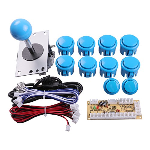 Easyget Zero Delay Arcade Game DIY Parts Kit for Raspberry Pi 2 Retropie & USB PC MAME Cabinet DIY Projects Color: Blue