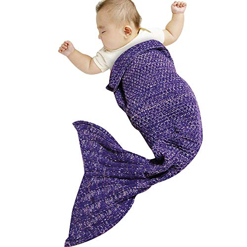 genmine Mermaid Tail Blanket Crochet Knit Mermaid Blanket for Baby Swaddling Sleeping Bag, for Baby Photo Photography Soft and Warm for All Seasons 35.4inx19.6in (Purple)