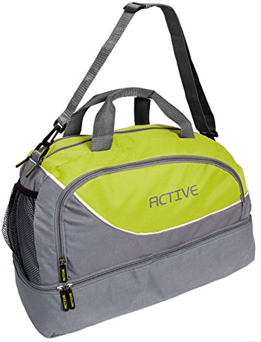 BRUBAKER Active Sporttasche 30 L mit einem Nassfach, Bodenfach und einem Fach für Handy und Ähnliches in Grau/Grün