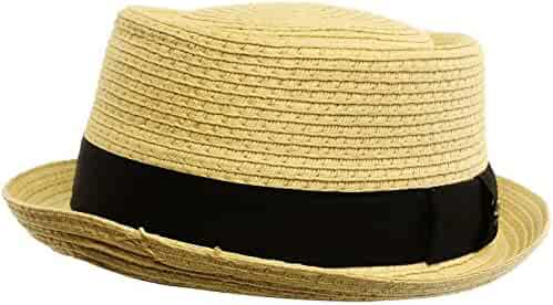 0f23c9c8495 SK Hat shop Men s Cool Summer Straw Pork Pie Derby Fedora Upturn Brim Hat