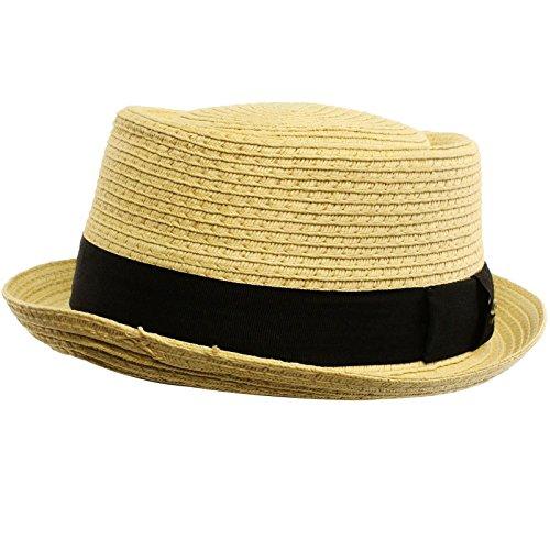 Men's Cool Summer Straw Pork Pie Derby Fedora Upturn Brim Hat L/XL White