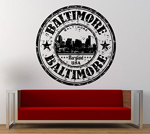 Baltimore Maryland Stamp Wall Decal Sticker Vinyl Mural Leaving Bedroom Room Home Decor L341