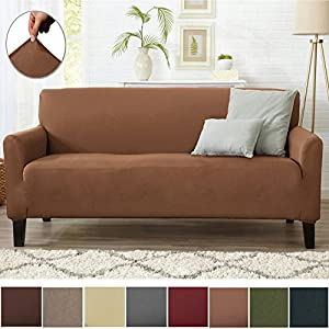 Form Fit Stretch, Stylish Furniture Cover / Protector Featuring Lightweight Twill Fabric. Dawson Collection Basic Strapless Slipcover. By Home Fashion Designs Brand. (Sofa, Toffee)