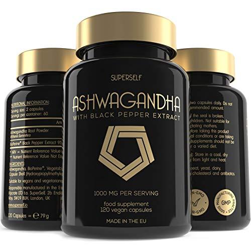 Superself Ashwagandha Capsules - High Strength Ashwanghanda Root 1000 mg per Serving with Black Pepper Extract - 120 Vegan Tablets - Natural Ayurvedic Herbal Supplement - 2 Month Supply