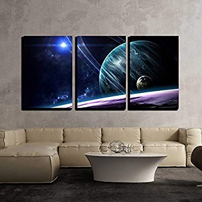 """Planets in Outer Space - Canvas Art Wall Art - 16""""x24""""x3 Panels"""