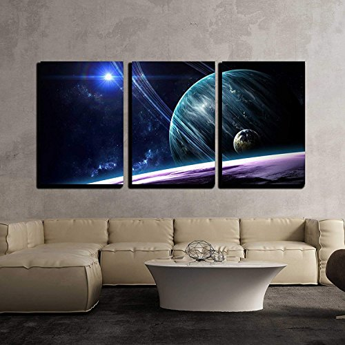 Planets Stars Galaxies in Outer Space Wall Decor x3