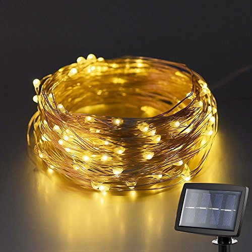 Price comparison product image Lightess Solar String Lights LED Copper Wire Starry String Light Ambiance Lighting for Christmas Party 100 LEDs Warm White