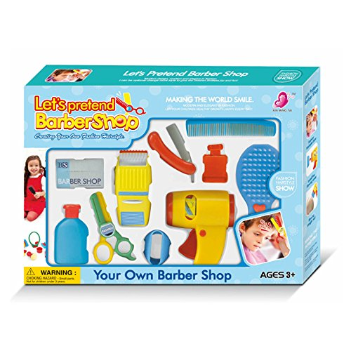 WPS Colorful Play Accessories Barber Shop Salon Hairstyle Play Set Kit with Clipper for Kids Pretend game Gift 115D (Salon Shop)