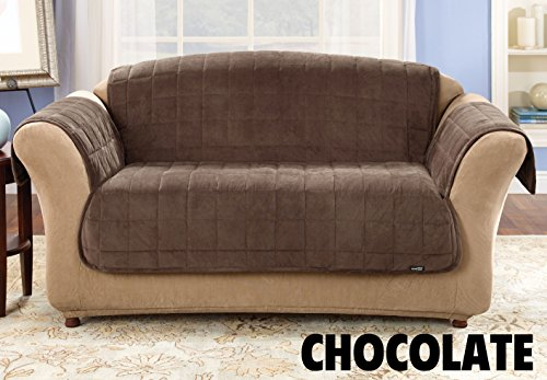 Sure Fit Deluxe Pet Cover    Loveseat Slipcover    Chocolate  Sf39229
