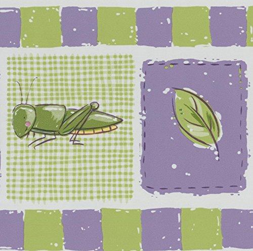 Dragonfly Butterfly Lady Bug Grasshopper Purple Green Wallpaper Border for Kids Retro Design, Roll 15' x ()