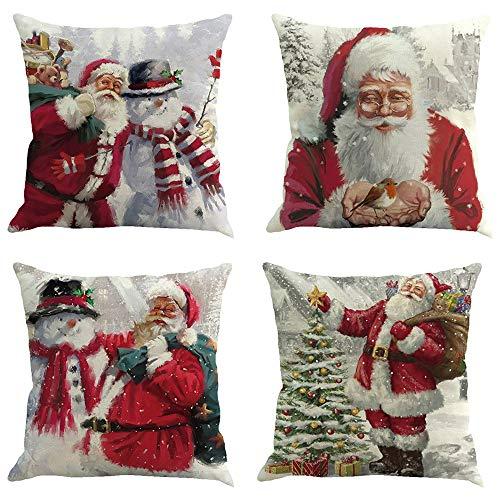 Sunshinehomely Clearance 4PC Christmas Santa Claus Snowmen Red Printed Pillowcase Happy Christmas Pillow Cases Linen Sofa Cushion Cover Home Decor (B)