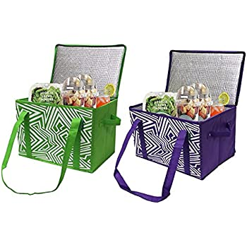 Earthwise Insulated Reusable Grocery Bag Shopping Box with REINFORCED BOTTOM PANEL and ZIPPER TOP LID in Bright Colors EXTRA SIDE HANDLES FOR EASY LIFTING ( Set of 2 )