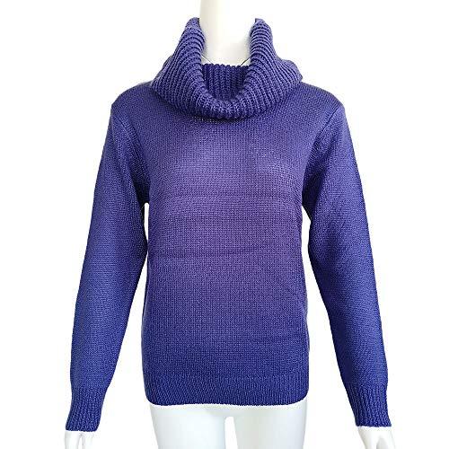 Roulé Chaud Automne Tunique Pull Rovinci Ample Bleu Chic À Femme Pullover Tricot Solide Longues Hauts Col Sweater Hiver Élégant Manches 0Cx4wq