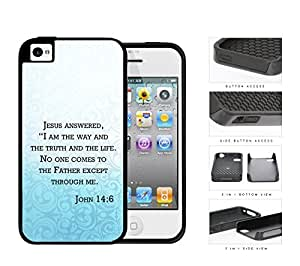 John 14:6 Religious Bible Verse BLUE gradient Floral Overlay [iPhone 4 4s] 2-piece Dual Layer High Impact Black Silicone Cover