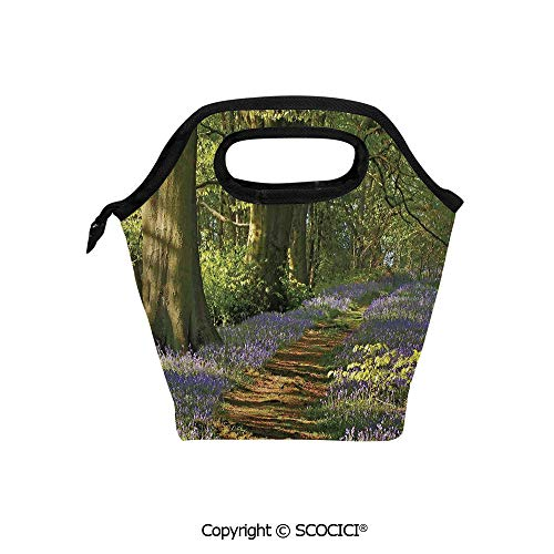 Insulation portable lunch box bag A Carpet of Bluebells Spreads through the Woodland in Staffordshire England Soft Fabric lunch bag Mummy bag.