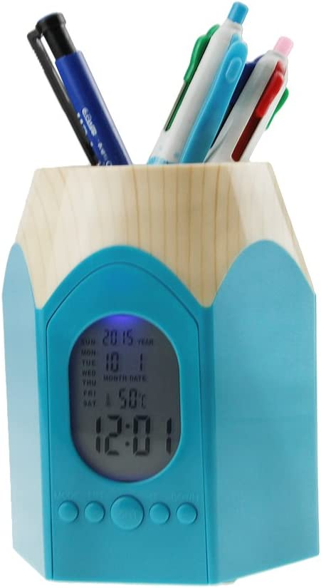 Multifunctional Creative Backlight Electronic Calendar Snooze Alarm Clock Pens Pencil Holder Cup Office Home Desktop Container Organizer Makeup Brush Pot Study Work Stationery Blue