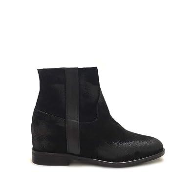 Shoe gar Stivaletti camoscio Neri con Zeppa Interna Made in