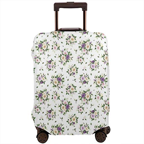 Travel Luggage Cover,Lisianthus Flower Bouquet Wedding Inspired Arrangement Purity And Love Suitcase Protector