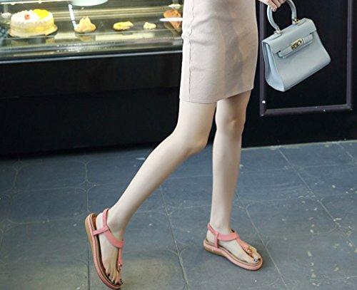 Verano de de Nuevo Color la Hebilla Sandalias Las del Sólido LIANGXIE del Rosado ZHHZZ Elásticas Mujeres Planas 7xtSqP