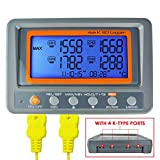 4 Channel K Type Thermometer SD Card Datalogger Thermocouple Temperature With Beeper And LED Alarm + 2 K-Thermocouple Probe Type