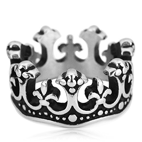 JAJAFOOK Jewelry 316L Crown Black Plating Rings for Men Women,Size 7-13 Black