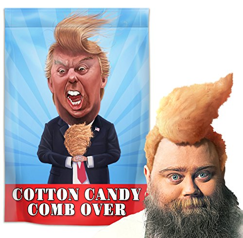 (Cotton Candy Comb Over Donald Trump Novelty - Handmade in The USA, Gluten Free and Kosher - Funny Gag Gift for Friends, Moms, Dads, Christmas - Orange Flavored Pre-Packaged Cotton Candy (1oz))