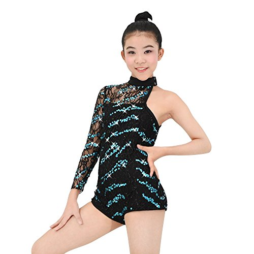 [MiDee Asymmetric Sequins One-shoulder Jazz & Tap Dance Leotard Costume (SA, Black)] (Dance Costumes For Competition For Adults)