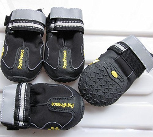 Colorfulhouse Waterproof Pet Boots for Medium to Large Dogs Labrador Husky Shoes 4 Pcs (Black, 4 (2.5