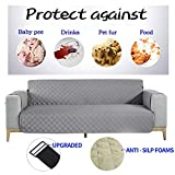 NEKOCAT Sofa Cover,100% Waterproof Nonslip Quilted Furniture Protector Slipcover, Seat Width to 68' Furniture Protector with Elastic Strap, Washable Couch Slip Cover(Sofa,Gray/Anti-Slip)