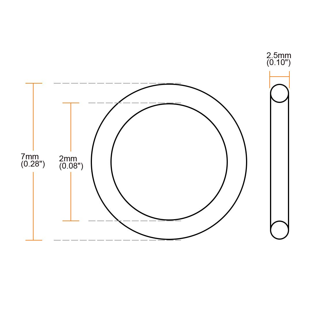 7mm OD 2mm ID 2.5mm Width Metric Buna-N Sealing Gasket uxcell Nitrile Rubber O-Rings Pack of 200