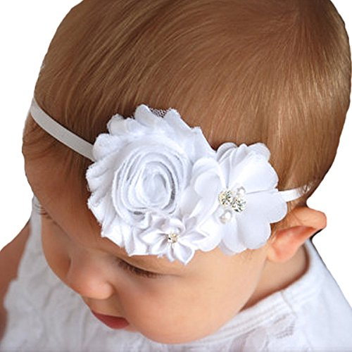 Miugle Baby Girl Baptism Headbands Baby Christening Hair Bows